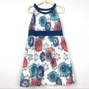 Tea Collection White Blue Floral Tank Dress Sz 4